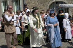 Parade of characters during the medieval festival Royalty Free Stock Photography