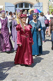 Parade of characters during the medieval festival Stock Photo