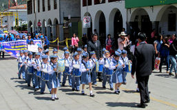 The parade of children in Peru Stock Photo