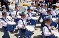 The parade of children in Peru Royalty Free Stock Photo