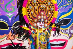 Parade of colorful smiling mask at 2018 Masskara Festival, Bacolod City, Philippines.  royalty free stock image