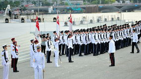 Parade Commander giving commands during National Day Parade (NDP) Rehearsal 2013 Royalty Free Stock Images