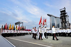 Parade Commander leading the colors party during National Day Parade (NDP) Rehearsal 2013 Stock Photo