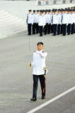 Parade Commander marching during National Day Parade (NDP) Rehearsal 2013 Royalty Free Stock Image
