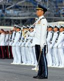 Parade Commander standing at attention during NDP royalty free stock photo