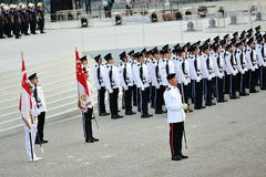 Parade Commander standing smartly with the guard-of-honor contingents during National Day Parade (NDP) Rehearsal 2013 Royalty Free Stock Photo