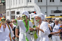 Parade in Copenhagen. Having gay parade in Copenhagen, there was good weather and many happy people on the streets Royalty Free Stock Image