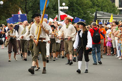 Parade Crew of the ship in Riga, July 27th, 2013. RIGA, LATVIA - JULY 27th: Crew Parade during the second stage of the World Cup The Tall Ships Races 2013 in stock image