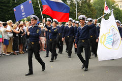 Parade Crew of the ship in Riga Royalty Free Stock Photography