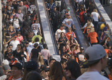 Parade Crowds on Escalators Royalty Free Stock Images