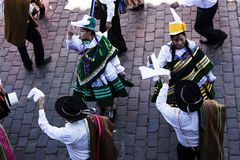 Parade in Cusco Peru South America Traditional Costumes lizenzfreie stockfotos