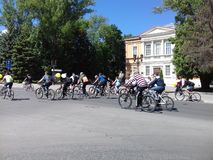 parade of cyclists stock photography