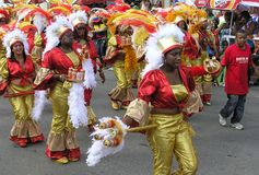 Parade of dancers in shiny carnival costumes. February 3, 2008. stock image