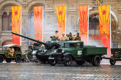 Parade dedicated to November 7, 1941 on Red Square in Moscow. 75th anniversary. royalty free stock image