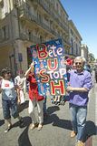 Parade demonstration against war in Irag, Anti-George W. Bush Sign, Avignon, France Royalty Free Stock Photography