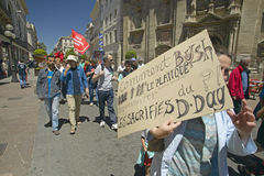 Parade demonstration against war in Irag, Anti-George W. Bush Sign, Avignon, France Stock Image