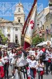 Parade an den caballos Del Vino in Caravaca de la Cruz, Spanien am 2. Mai 2019 stockbild