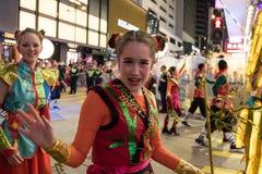Parade des Chinesischen Neujahrsfests Nacht Stockfotos