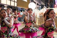 Parade des Chinesischen Neujahrsfests Nacht Stockfotografie