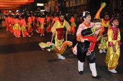 Parade des Dorfbewohners in der chinesischen Feier des neuen Jahres Lizenzfreie Stockfotografie