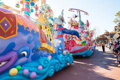 Parade of different colorful floats in DisneyWorld. Parade of different big colourful floats in DisneyWorld stock photography