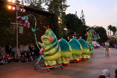 Parade at Disney's California Adventure. A fun parade at Disneyland's California Adventure park in Anaheim, California.  This worm is from the animated movie, A Royalty Free Stock Images
