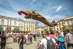 During the parade of dragons of Krakow Main Square Royalty Free Stock Photos