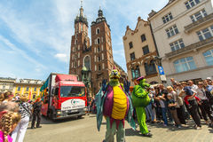 During the parade of dragons of Krakow Main Square Royalty Free Stock Photo