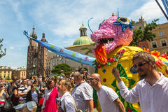 During the parade of dragons of Krakow Main Square Royalty Free Stock Photography