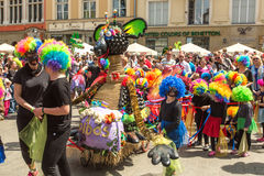 During the parade of dragons of Krakow Main Square Stock Images