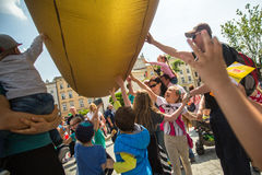 During the parade of dragons in Krakow Royalty Free Stock Image
