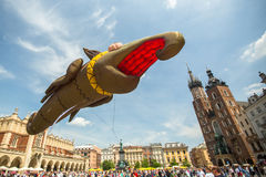 During the parade of dragons in Krakow Stock Image