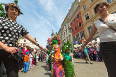 Parade of dragons on Main Square of Krakow Royalty Free Stock Photos