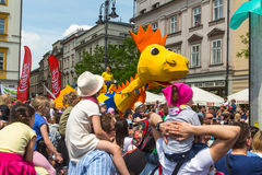 Parade of dragons on Main Square of Krakow Royalty Free Stock Photo