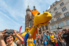 Parade of dragons on Main Square of Krakow Royalty Free Stock Images