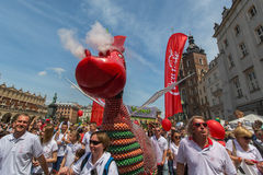 Parade of dragons on Main Square of Krakow Stock Image