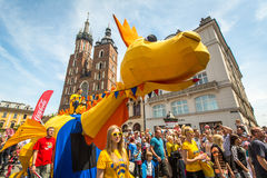 During the parade of dragons on Main Square near St.Mary's Basilica. Stock Photo