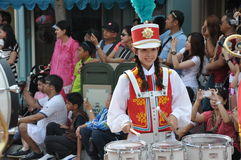 Parade drummer girl Royalty Free Stock Photo