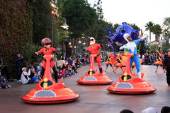 Parade with Elastigirl at Disneys California Adven Royalty Free Stock Images