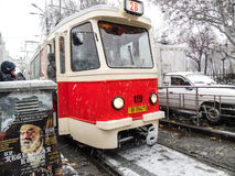 Parade electric trams in Bucharest, Romania. Stock Photography