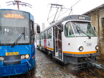 Parade electric trams in Bucharest, Romania. Stock Photos