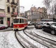 Parade electric trams in Bucharest, Romania. Stock Photo