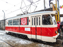 Parade electric trams in Bucharest, Romania. Royalty Free Stock Photo