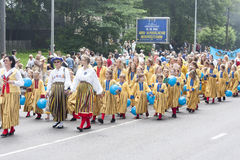 Parade of Estonian national song festival in Tallinn, Estonia. Tallinn, Estonia - July 05, 2014: Parade of the Estonian XXVI National song and dance festival Stock Image