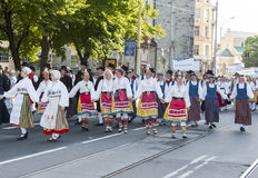 Parade of Estonian national song festival in Tallinn, Estonia. Tallinn, Estonia - July 05, 2014: Parade of the Estonian XXVI National song and dance festival Royalty Free Stock Image