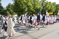Parade of Estonian national song festival in Tallinn, Estonia. Tallinn, Estonia - July 05, 2014: Parade of the Estonian XXVI National song and dance festival Royalty Free Stock Photo