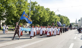 Parade of Estonian national song festival in Tallinn, Estonia. Tallinn, Estonia - July 05, 2014: Parade of the Estonian XXVI National song and dance festival Stock Photography