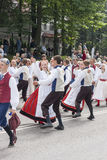 Parade of Estonian national song festival in Tallinn, Estonia. Tallinn, Estonia - July 05, 2014: Parade of the Estonian XXVI National song and dance festival Royalty Free Stock Photos