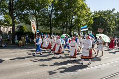Parade of Estonian national song festival in Tallinn, Estonia Royalty Free Stock Image