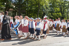 Parade of Estonian national song festival in Tallinn, Estonia. Tallinn, Estonia - July 05, 2014: Parade of the Estonian XXVI National song and dance festival Stock Images